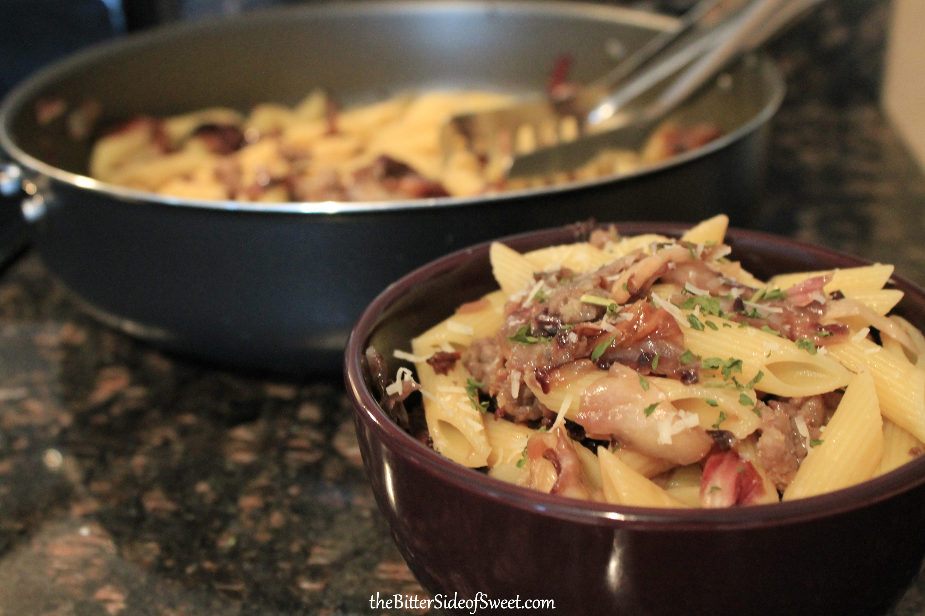 Penne with Sausage and Radicchio