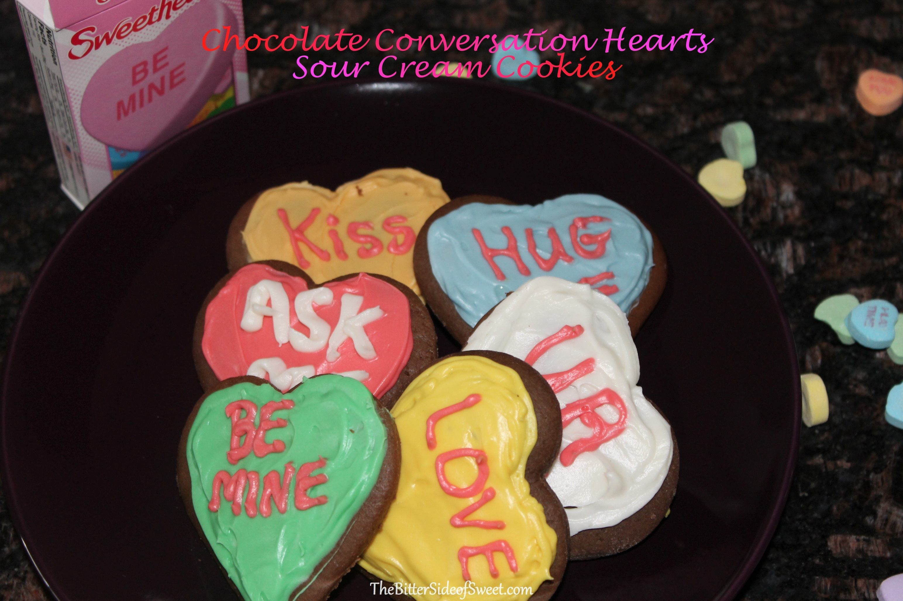 Chocolate Conversation Hearts Sour Cream Cookies