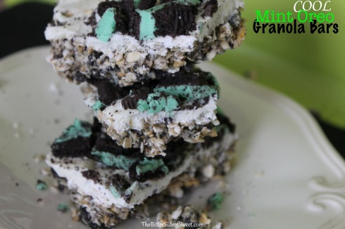 Cool Mint Oreo Granola Bars
