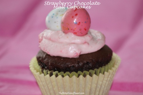 Strawberry Chocolate Malt Cupcakes